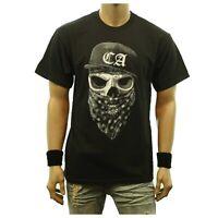 Fun Graphic T-Shirt CA CALIFORNIA CAP SKULL Bandanna Printed Casual Hip Hop Tee