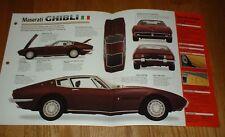 ★★ 1968 Maserati Ghibli Original Imp Broschüre Brille Info 66 68 70 73 1966-1973