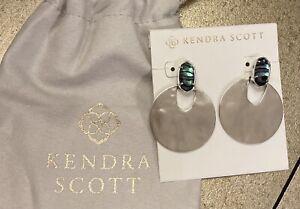 NEW Kendra Scott Didi $110 Drop Dangle Statement Earrings Silver & Abalone Stone
