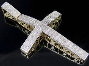"Men's 10K Yellow Gold Genuine Diamond Icy Dome Cross Pendant Charm 1.25CT 2.5"""
