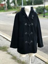Express Women Black Wool Blend Horn Toggle Trench Winter Hooded Pea Coat Jacket