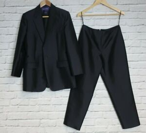 RALPH LAUREN COLLECTION - Charcoal Black Wool & Silk Trouser Suit (10) (NA120F)