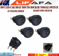 4 PCS LED Dot Light 12V Car Boat Auto Round ON/OFF Rocker Toggle SPST Switch AA