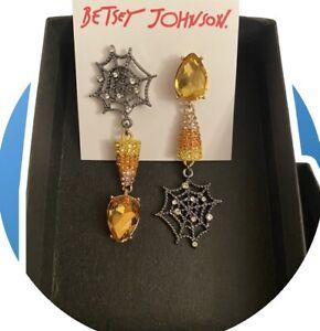 New Betsey Johnson Just Treats Spider Web & Candy Corn Mismatch Drop Earrings