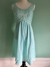 Vintage 60s Vanity Fair Blue Midi Nightgown Blue Lace Sz 36 Negligee