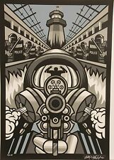 'Prison Riot' Signed Silkscreen Print by Max Grundy Police Gas Mask Gun Anarchy