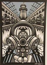 'Prison Riot' Signed Silkscreen Print by Max Grundy Police Gas Mask Gun Anarchy