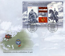 Latvia 2018 FDC Diplomatic Relations JIS Kyrgyzstan 2v M/S Cover Flags Stamps