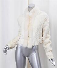 ZAC POSEN Womens Cream Genuine Persian Lamb Fur Long-Sleeve Open Jacket Coat L