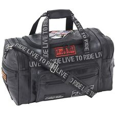 "Black 17"" Leather Travel Duffle Bag, Mens Overnight Motorcycle Carry-On Suitcase"