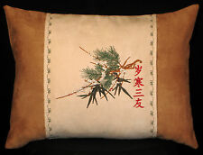 "New Embroidered ""Three Friends of Winter"" Accent Pillow 歲寒三友 Chinese 12 x 16 in."