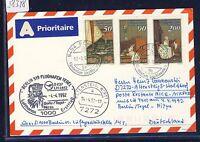 58348) LH FF Berlin - Nizza Nice France 4.4.92, Karte ab Liechtenstein