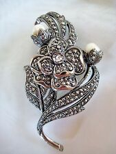 NEW Vintage KJL for Avon ANTIQUE IMPRESSIONS Marcasite Pearl Brooch Pin Flower