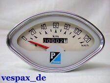 Vespa Muschel Tacho weiß Tachometer speedo 120 km/h Sprint GT GL GS VBB -  NEU