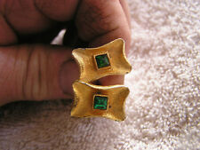 """Stone Marked """"S"""" Vintage Cufflinks with Green"""