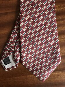 """Vintage retro 4"""" GUCCI men's tie 100% Silk Made in Italy 56"""" long red green blue"""
