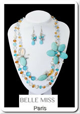 Luxury Set Statement Necklace Earrings Belle Miss Paris Jewelry Turquoise