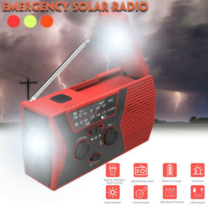 Portable Solar Powered Radio with LED Flashlight SOS Alarm AM FM NOAA Hand Crank