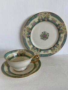 Tea Cup Trio LENOX Monticello. Old Black Back Stamp. Vintage Tea Cup & Saucer