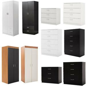 2 Door Double Wardrobe Chest of Drawers - Bedroom Furniture Storage Cupboard UK