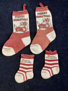 4 Vintage Miniature MERRY CHRISTMAS Cotton Stockings Socks Ornaments