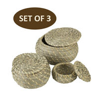 Round Seagrass Box Lidded Storage Basket Box | Set of 3 Small Home Organization