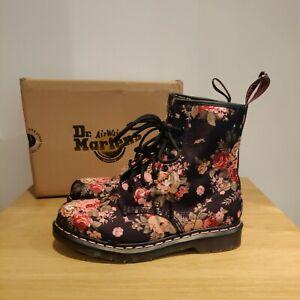 Dr Martens 1460 Castel Victorian Black Pink Floral Flowers UK 8 EU 42 US 10 RARE