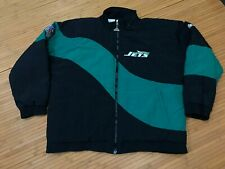 LARGE - Vtg 90s NFL New York Jets Apex One Quilted Zip Jacket
