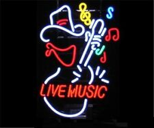 "New Live Music Guitar Cowboy Bar Neon Sign 24""x20"" Ship From USA"