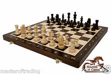 "WENGE ""TOURNAMENT No 5"" PROFESSIONAL WOODEN CHESS SET - WEIGHTED STAUNTON !!!"