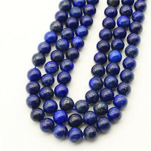 "1 Strand 4,6,8,10,12mm Natural Blue Lapis Lazuli Ball Loose Beads 15.5"" EE3176"