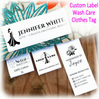 Custom Satin Ribbon Fabric Label Sew On Clothes Craft Name Brand Tag Wash Care