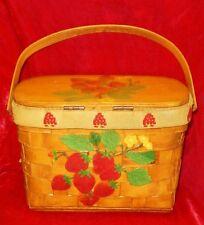 VTG 60'S WOVEN WOOD BASKET BAG W/DECOUPAGED STRAWBERRIES