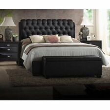 Black Queen Bed Headboard Set Tufted Faux Leather Modern Bedroom Furniture SALE