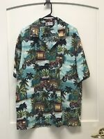 Aloha Republic Hawaiian Shirt Short Sleeved Teal Size XL Motorcycle Aloha Cafe
