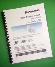 LASER PRINTED Panasonic DMC-LX7 Basic Camera 36 Page Owners Manual Guide