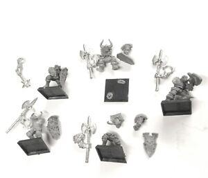 x 5 Champion & Halberds Chaos Warriors Metal Warhammer Fantasy Halberdiers lot b