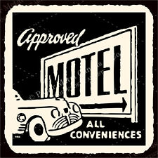 (VMA-G-1118) Approved Motel Conveniences Vintage Hospitality Retro Tin Sign