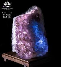 "8"" Amethyst Geode Cluster Crystal Lamp With Walnut Base #AG-916-5"