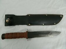 Vintage Bowie Combat Fighting Knife Scabbard Blood Groove Hunting Military Sharp