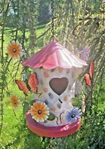 Hanging Bird Box House Garden Ornament Gift Present Butterfly Floral