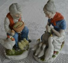Vintage Old Man Lady Porcelain Ceramic Bisque Figurines Ducks Chicken Denim Set