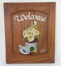 Wood Welcome Sign Floral with Mallard Duck Wall Mount