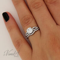 Sterling Silver 925 Women's Wedding Band CZ Bridal Engagement Ring 2pc Set R33