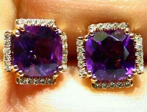2.95CT 14K Gold Natural Amethyst Cut Diamond Halo Engagement Stud Earrings Retro