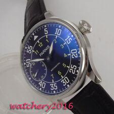 44mm PARNIS Schwarz dial Leuchtzeiger 6497 Handaufzug mechanisch Uhr men's Watch