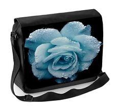 Blue Rose Wet Laptop Messenger Bag - Roses Floral Flowers