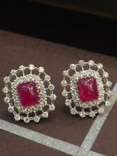 17.25 Cts Round Brilliant Cut Pave Diamonds Ruby Stud Earrings In Solid 14K Gold