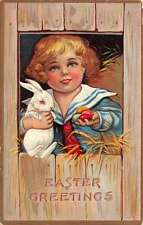 Easter Greetings Sailor Child With Bunny Eggs In Coop Antique Postcard K24780