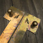 Antique Pair of Brass Door Knobs / Handles with Large Back / Finger Plates